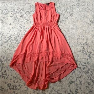 High-Low Lace Inset Dress